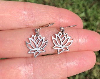 Lotus earrings, sterling silver flower earrings, flower dangle earrings, nature inspired, blooming flower earrings, lotus flower jewelry