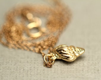 Conch shell necklace - gold shell necklace - beach necklace - a 22k gold plated spiral shell on a 14k gold vermeil chain