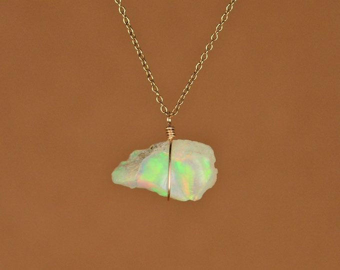Featured listing image: Opal necklace - raw opal - genuine opal - natural opal - a raw genuine opal wire wrapped onto a 14k gold vermeil chain - BLD4