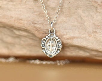 Virgin mary necklace -  sterling silver virgin mary necklace - religious necklace