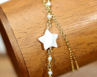Star and pearl necklace, mother of pearl pendant, once upon a star, wedding necklace, dainty necklace, shell necklace, beaded pearl chain