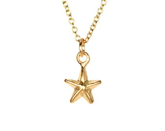 Star necklace - tiny star necklace - twinkle twinkle little star - a little 22k gold overlay star on 14k gold vermeil chain