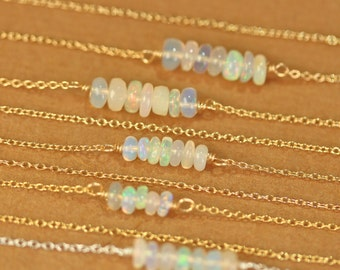 Opal necklace - opal bar necklace - crystal necklace - fire opal necklace - a row of ethiopian opal wire wrapped onto 14k gold vermeil chain