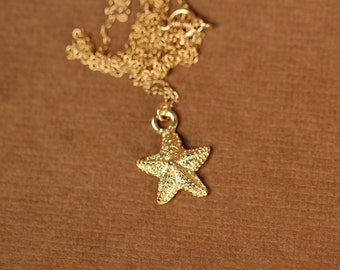 Gold starfish necklace - delicate necklace - beach necklace - a dainty gold star fish on a 14k gold vermeil chain