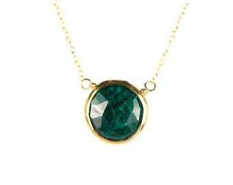 Emerald necklace - may birthstone - green emerald - love stone - a 22k gold lined genuine green emerald on a 14K gold vermeil chain