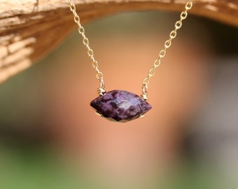 Sugilite necklace, purple stone necklace, marquis stone, purple crystal necklace, purple sugilite wire wrapped onto a 14k gold filled chain