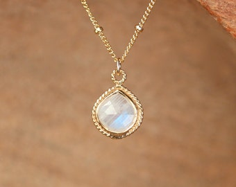 Teardrop moonstone necklace - rainbow moonstone necklace - solitaire necklace - gold bezel moonstone - june birthstone necklace