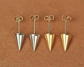 Gold spike earrings - spike studs - silver spike earrings - spike studs - punk rock - gold spikes