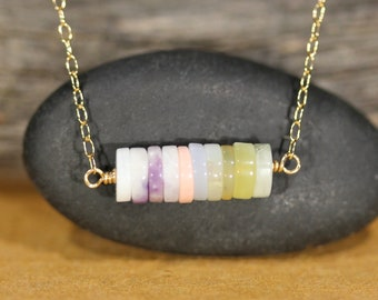 African opal necklace - opal bar necklace - ombre necklace- pink opal necklace - healing stone necklace
