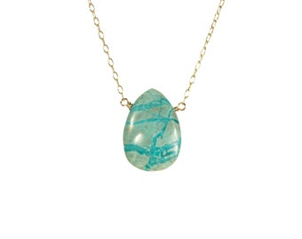 Chrysocolla necklace, green stone pendant, healing crystal necklace, green mineral necklace, boho necklace, 14k gold filled chain