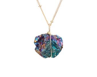 Bornite necklace - peacock ore necklace - chalcopyrite necklace - mineral - stone necklace - a raw peacock ore on a 14k gold vermeil chain