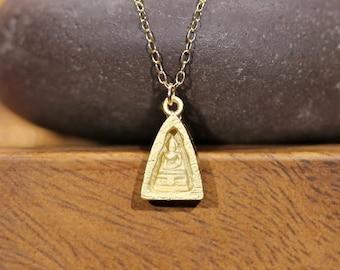 Buddha necklace, yoga necklace, meditation necklace, gold buddha pendant, zen, a gold vermeil buddha on a 14k gold vermeil chain