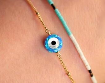 Evil eye bracelet - protection bracelet - good luck charm - tiny charm bracelet - opal evil eye necklace