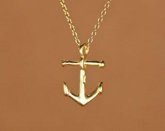 Anchor necklace - gold anchor necklace - anchor - nautical - sailor - a 22k gold overlay anchor on a 14k gold vermeil chain