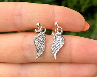 Silver wing earrings, angels wing stud earrings, guardian angel, dangle earrings, silver studs, gift for her