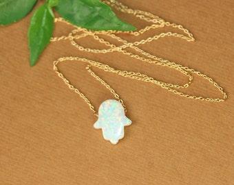 Opal hamsa necklace - hamsa necklace - good luck charm - hand of god - kaballah - pink opal - gold hamsa necklace - silver hamsa necklace