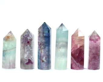 Fluorite tower - crystal wand - rainbow crystal point - fluorite pyramid - rainbow crystal wand