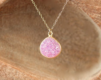 Druzy necklace, fairy necklace, raw crystal necklace, raw crystal pendant, pink druzy, a gold vermeil bezel druzy on a 14k gold filled chain