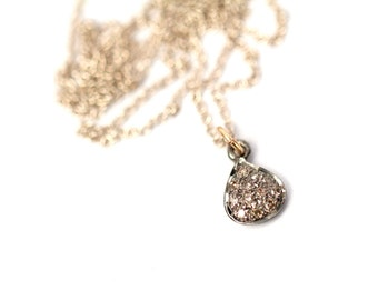 Tiny diamond necklace, pave diamond necklace, petite and delicate jewelry, diamond pendant, a teardrop bezel set diamond necklace