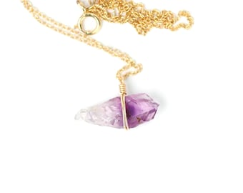 Healing crystal necklace - raw amethyst necklace - february birthstone - a raw amethyst crystal wire wrapped onto a 14k gold vermeil chain