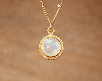 Rainbow moonstone necklace - crystal necklace - june birthstone - a gold bezel moonstone - crystal necklace