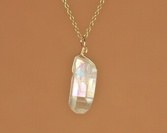 Crystal necklace - angel aura - quartz crystal - aura crystal -  A wire wrapped aura quartz on a 14k gold filled or sterling silver chain