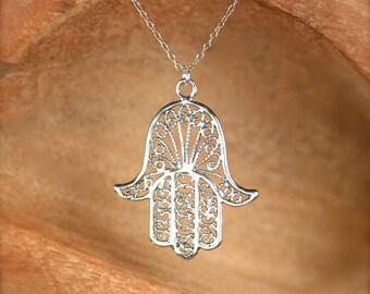 Hamsa necklace - sterling silver hamsa charm - khamsa necklace - amulet - a filigree style sterling silver hamsa on a sterling silver chain