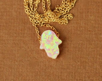 Hamsa necklace - opal hamsa necklace - good luck charm - hand of god - kaballah - pink opal - gold hamsa necklace - silver hamsa necklace