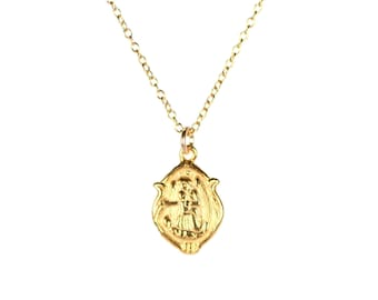 Virgin mary necklace - religious necklace - catholic necklace - a tiny 22k gold plated virgin mary on a 14k gold filled chain