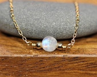 Tiny moonstone necklace, dainty and delicate jewelry, simple gold necklace, everyday necklace, thin gold chain,