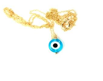 Evil eye necklace - blue evil eye -  chashm zakhm - nazar - a blue and white glass eye on a 14k gold vermeil or sterling silver chain