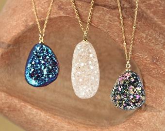 Druzy necklace - geode druzy necklace - crystal necklace - raw crystal necklace - titanium quartz - aura quartz