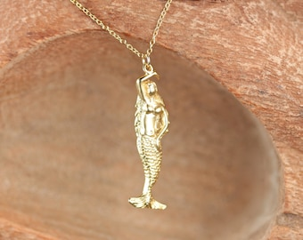 Gold mermaid necklace - beach necklace - sea princess necklace - fairytale - a 22k gold plated mermaid on a 14k gold vermeil chain