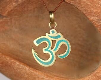 Tibetan ohm necklace - turquoise ohm necklace - gold ohm pendant - meditation necklace - zen - yoga jewelry - peace necklace
