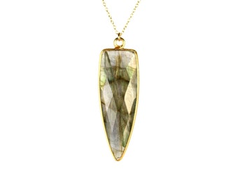 Labradorite necklace - crystal necklace - spike necklace - a gold vermeil lined labradorite spear hanging from a 14k gold vermeil chain
