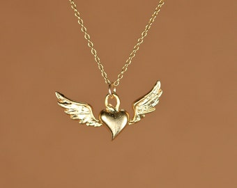 Flying heart necklace - heat necklace - wing necklace - wings necklace - a 22k gold overlay heart and wings on a 14k gold vermeil chain