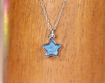 Silver star necklace - blue star - druzy star - druzy jewelry - tiny silver charm necklace