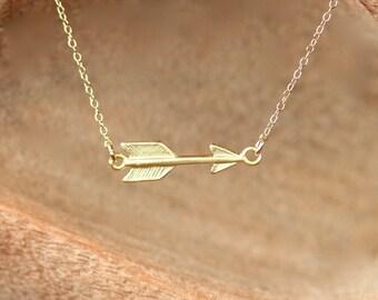Arrow necklace - gold arrow necklace - sideways arrow necklace - gold point - gold spike - a gold arrow on 14k gold vermeil chain