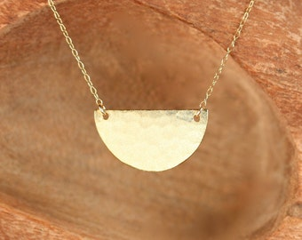 Half circle necklace - gold bar necklace - simple - minimalist - a gold vermeil semi circle hanging from a 14k gold vermeil chain