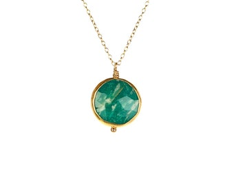 Amazonite necklace -  amazon stone - gemstone necklace - august birthstone - a wire wrapped green amazonite on a 14k gold vermeil chain