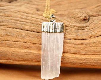 Selenite necklace - crystal necklace -  silver selenite necklace - raw crystal - a gold topped selenite wand on a 14k gold filled chain