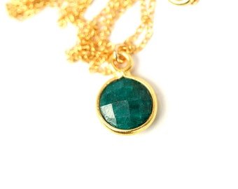 Emerald necklace - may birthstone - teardrop necklace - a 22k gold lined genuine green emerald on a 14K gold vermeil chain