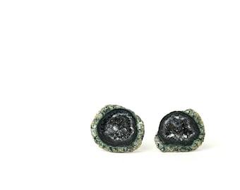 Geode earrings - druzy stud earrings - baby geode studs - a set of little green geode druzy caves set on sterling silver posts
