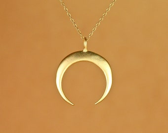 Double horn necklace - gold crescent necklace - moon necklace - a gold vermeil horn on a gold vermeil chain