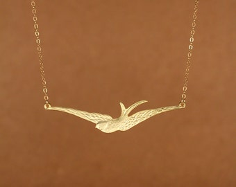 Flying bird necklace - wings necklace - gold bird necklace - sparrow necklace - a 22k gold overlay sparrow on a 14k gold filled chain