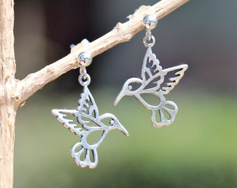 Hummingbird earrings - silver charm earrings - bird earrings - silver dot earrings - dangle earrings - hummingbird jewelry