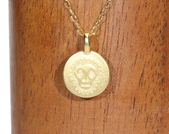 Sugar skull necklace, all souls day pendant, dia del los muertos jewelry, Mexican skull pendant, day of the dead jewelry, gold filled chain