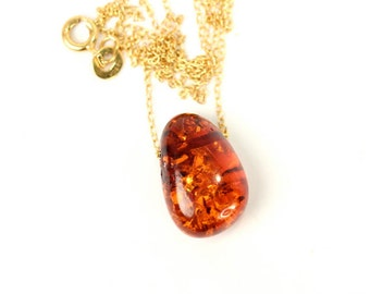 Amber necklace - baltic amber necklace - healing necklace - a wire wrapped drop of baltic amber on a 14k gold vermeil chain