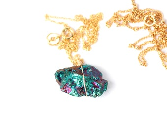 Peacock ore necklace - chalcopyrite necklace - rock necklace - mineral - a rainbow peacock ore wire wrapped onto a 14k gold vermeil chain