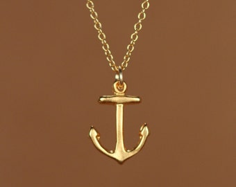 Anchor necklace - gold anchor necklace - tiny anchor - nautical - sailor - a 22k gold overlay anchor on a 14k gold vermeil chain